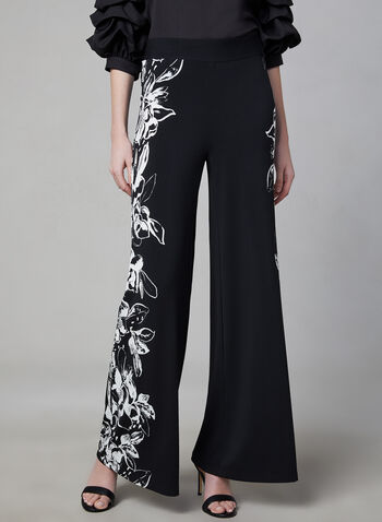 Pantalon pull-on fleuri à jambe large, Noir, hi-res,  pantalon, pull-on, jambe large, fleurs, jersey, printemps 2019