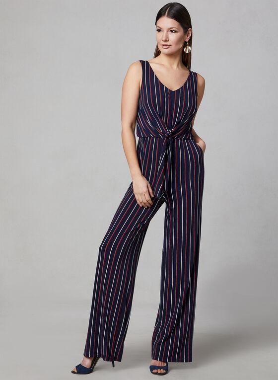 Frank Lyman - Stripe Print Wide Leg Jumpsuit, Blue, hi-res