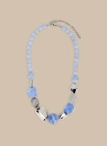 Short Bead & Stone Necklace, Blue,  necklace, short, stones, beads, metallic, spring summer 2020