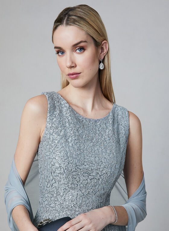 Alex Evenings - Robe en dentelle sequins et foulard, Argent, hi-res