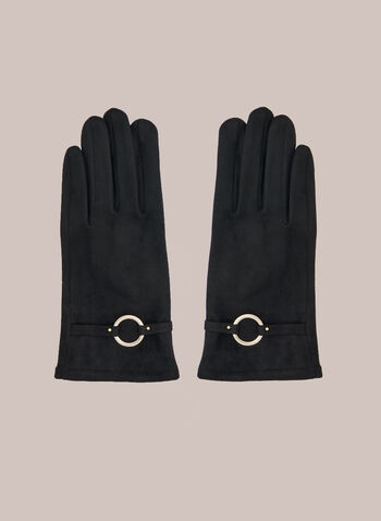 Ring Detail Faux Suede Gloves, Black,  fall winter 2020, gloves, accessories