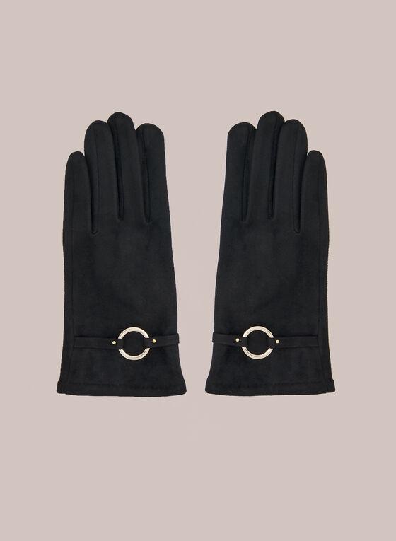 Gants en faux suède à détail anneau, Noir