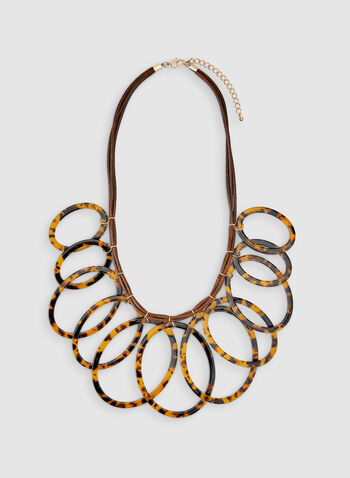 Tortoise Shell Hoop Necklace, Brown, hi-res,  tort necklace, tortoise shell jewellery