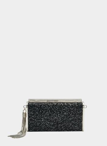 Pochette rectangulaire pailletée, Noir, hi-res,  pochette, rectangulaire, pailletée, métallisée, automne hiver 2019