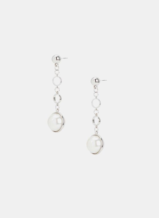 Pearl Dangle Earrings, Off White, hi-res