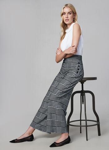 Joseph Ribkoff - Plaid Print Wide Leg Pants, Black, hi-res,  made in canada, fall winter 2019, plaid print, pull on, wide leg