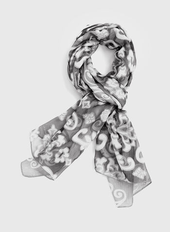 Sheer Lace Scarf, Silver, hi-res