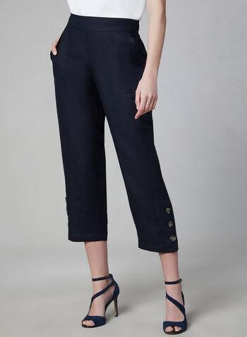 Pull-On Capri Pants, Blue, hi-res,  capri pants, linen, spring 2019