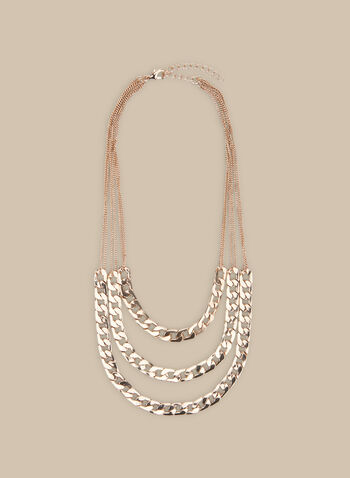 Triple Row Chain Link Necklace, Gold,  necklace, triple row, metallic necklace, link chain necklace, spring 2020, summer 2020