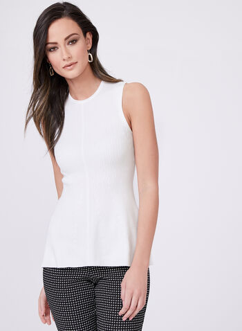 Sleeveless Peplum Knit Top , Off White, hi-res
