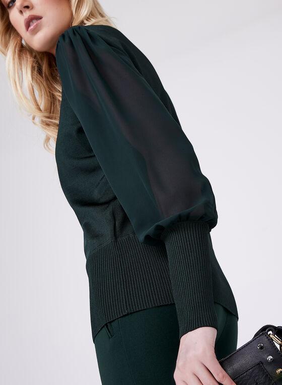 Sheer Chiffon V-Neck Knit Sweater , Green, hi-res