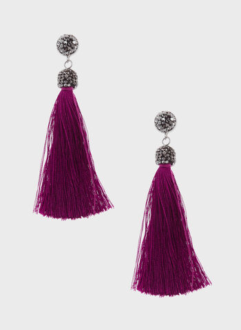 Crystal Topped Tassel Drop Earrings, Purple, hi-res