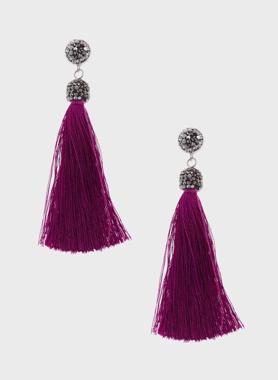 Crystal Topped Tassel Drop Earrings, Purple, hi-res