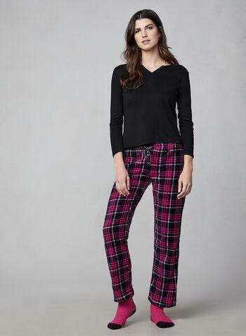 Pillow Talk - Pyjama 2 pièces avec chaussettes, Noir,  pyjama, haut, pantalon, tartan, peluche, chaussette, manches 3/4, automne hiver 2019