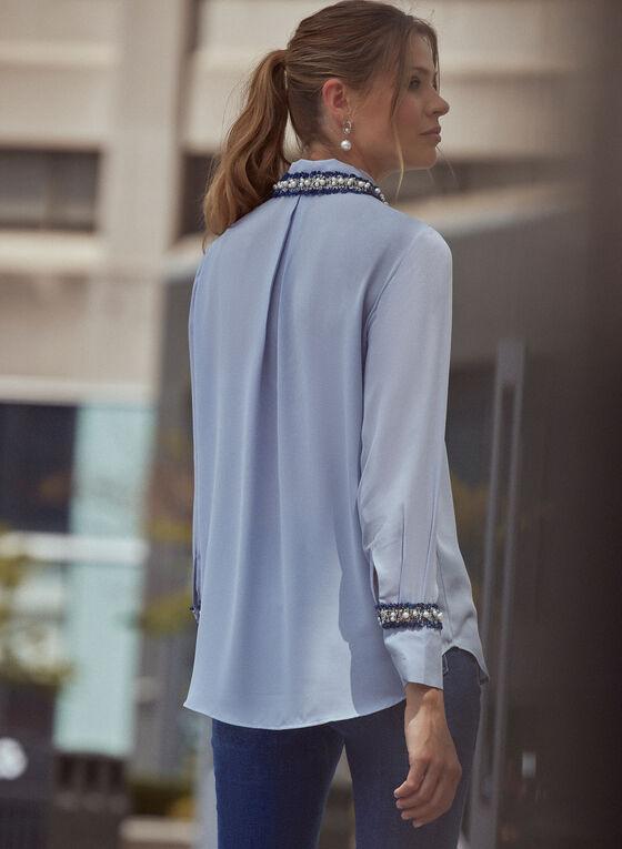 Tweed Trim Blouse, Blue