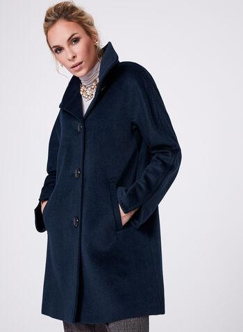 Ellen Tracy - Wool & Angora Blend Coat, Blue, hi-res
