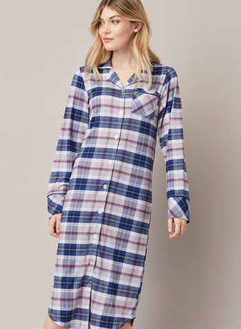 Tartan Print Long Nightshirt, Blue,  fall winter 2020, nightshirt, tartan print, pyjama