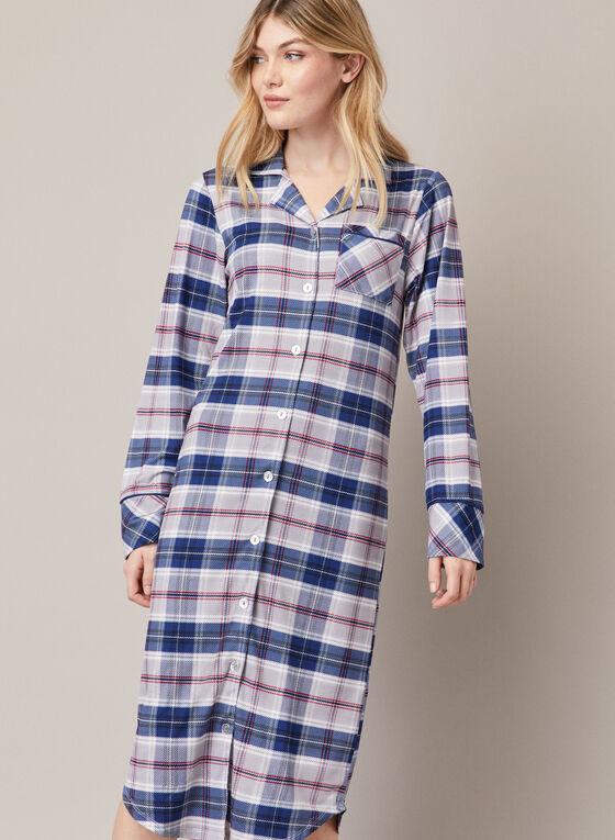 Tartan Print Long Nightshirt, Blue