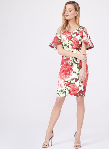 Cenia New York – Floral Print Cold Shoulder Dress, Multi, hi-res