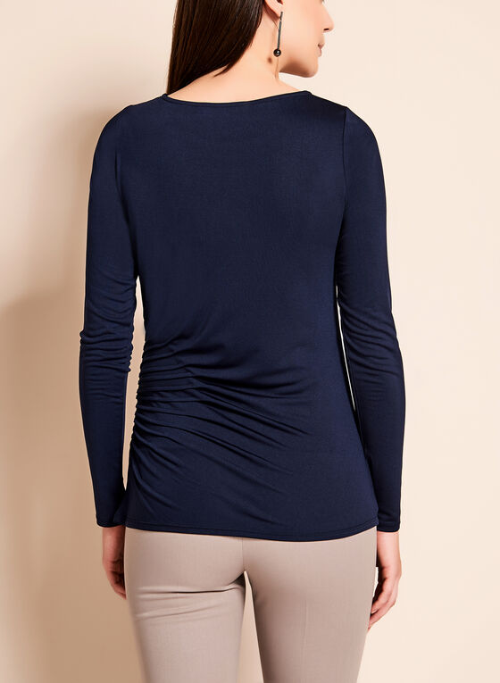 Long Sleeve Pintuck Top, Blue, hi-res