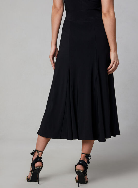 Pull-On Midi Skirt, Black, hi-res