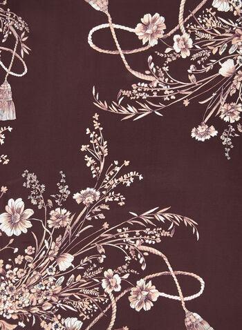Carré de soie à motif pampille et fleurs, Violet, hi-res,  floral, fleuri, imprimé, motifs, automne hiver 2019