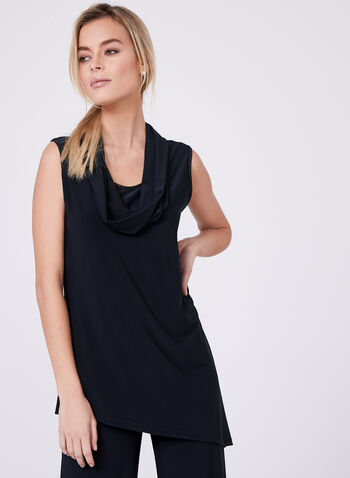 Compli K - Cowl Neck Sleeveless Top , Blue, hi-res