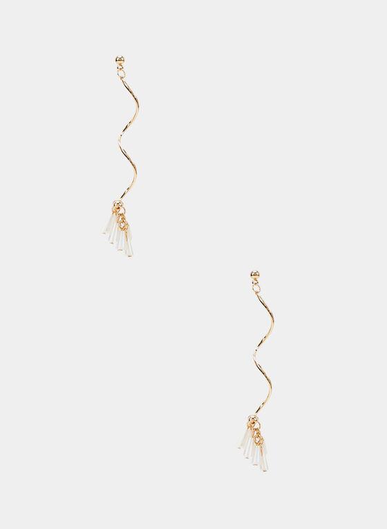 Boucles d'oreilles à pendants ondulés, Or, hi-res