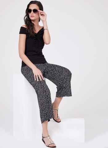 Pantalon pull-on gaucho à pois, Noir, hi-res