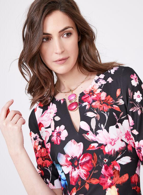 Adrianna Papell - Robe fourreau fleurie , Noir, hi-res