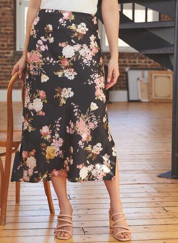 Vince Camuto - Floral Print Midi Skirt, Black,  skirt, midi, floral, slit, spring summer 2021