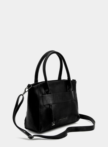 Faux Leather Satchel, Black, hi-res