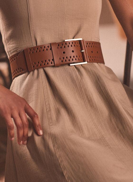 Wide Leather Belt, Beige