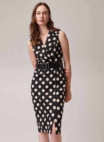 Joseph Ribkoff - Polka Dot Print Belted Dress, Black,  day dress, polka dot, sleeveless, notch collar, belt, bengaline, spring summer 2020