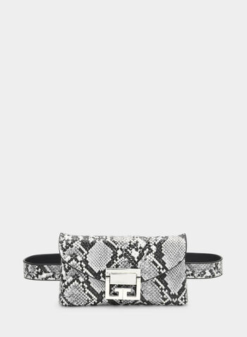 Snakeskin Print Two-in-One Bag, Grey, hi-res,  belt bag, shoulder bag, handbag, snakeskin print, fall 2019, winter 2019