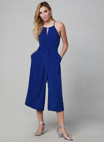 Cropped Wide Leg Jumpsuit, Blue,  jumpsuit, sleeveless, halter, wide leg, cropped, fall 2019