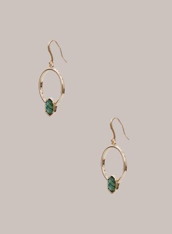 Boucles d'oreilles à anneaux et pierres, Vert,  automne hiver 2020, boucles d'oreilles, anneaux, pierre, bijou, accessoire