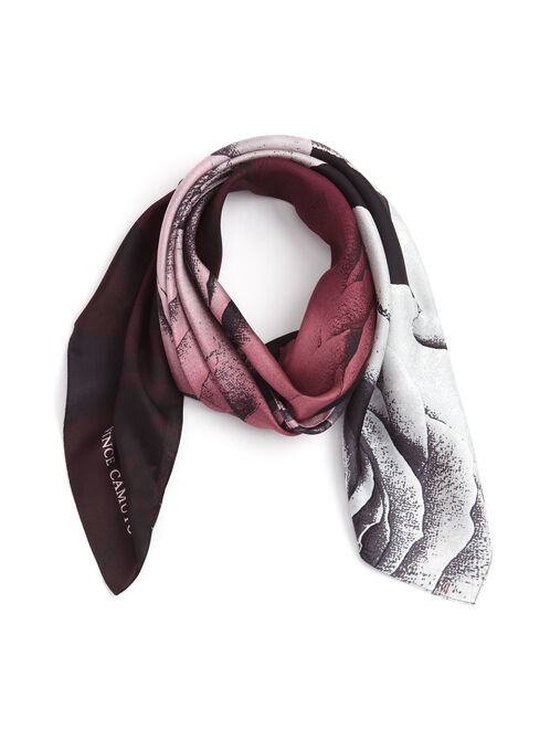 Rose Print Silk Square Scarf, Purple, hi-res