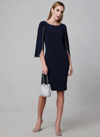 Joseph Ribkoff - Crystal Embellished Jersey Dress, Blue, hi-res