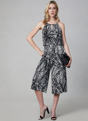 Maggy London - Abstract Print Jumpsuit, Black,  spring summer 2019, sleeveless, jersey, Maggy London