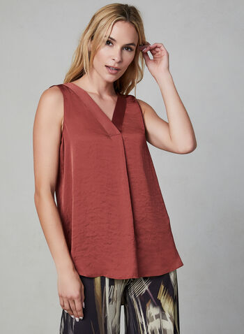 V-Neck Sleeveless Blouse, Brown, hi-res,  blouse, sleeveless, high-low hemline, fall 2019, winter 2019