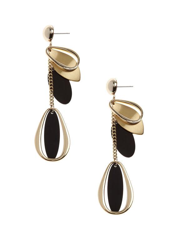 Boucles d'oreilles avec pendants géométriques, Or, hi-res
