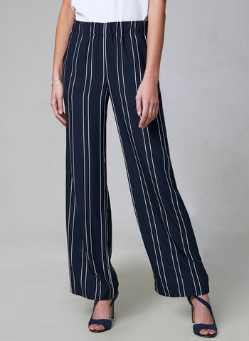 Pantalon rayé à jambe large, Bleu, hi-res,  pantalon, pull-on, jambe large, rayures, printemps 2019