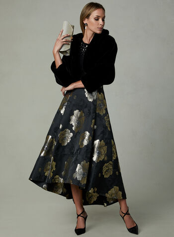 Floral Print Flared Skirt, Black, hi-res