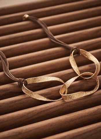 Collier en corde à anneaux dorés , Or,  printemps été 2021, accessoires, bijoux, collier, cordons, anneaux, cuir, doré
