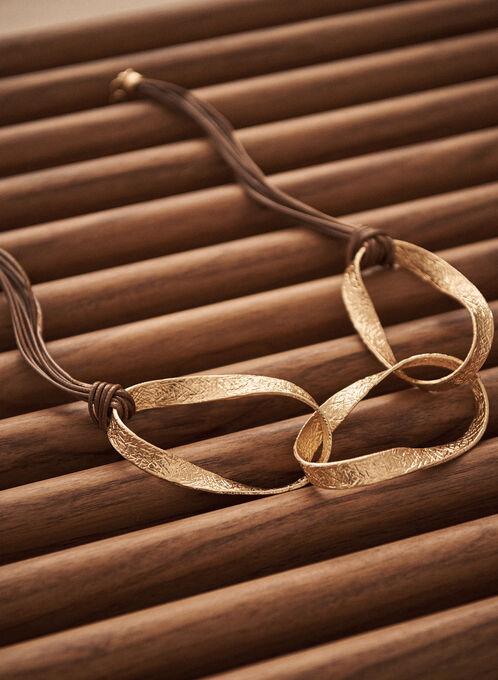 Collier en corde à anneaux dorés , Or