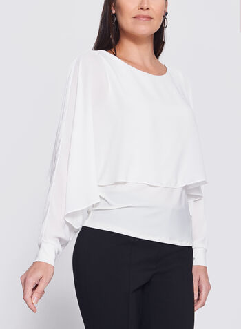 Long Sleeve Double Layer Poncho Top, Off White, hi-res