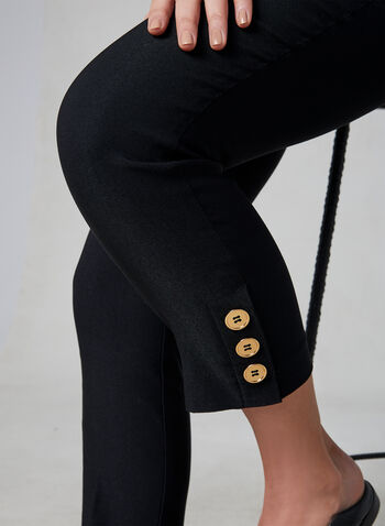 Pull-On Button Detail Capri Pants, Black, hi-res