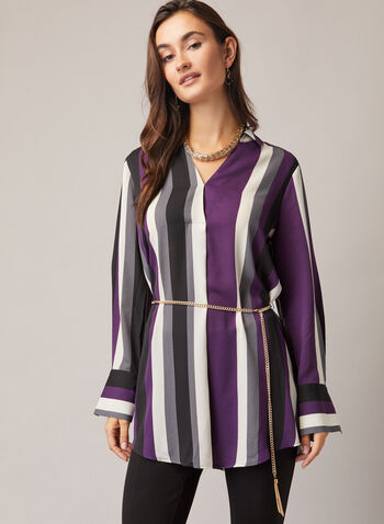 Stripe Print Chain Belt Tunic, Black,  fall winter 2020, tunic, blouse, chain, stripe, fall winter 2020