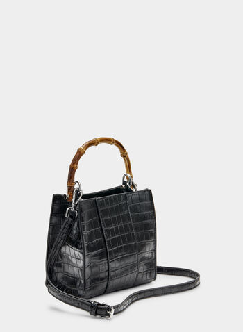 Faux Crocodile Handbag, Black, hi-res,  handbag, bamboo handle, faux crocodile, spring 2019, summer 2019